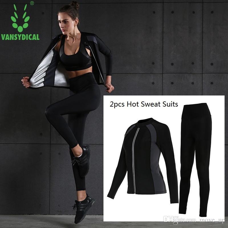 Compre Vansydical 2018 Mujeres Hot Sweat Trajes Deportivos Juegos De Correr  Adelgazantes Fitness Fitness Trajes De Yoga Sudando Ropa De Gimnasio Body  ... dfec928f8ed1