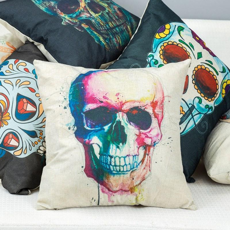 Household Halloween Theme Skull Pattern Personality Flax Pillow Case