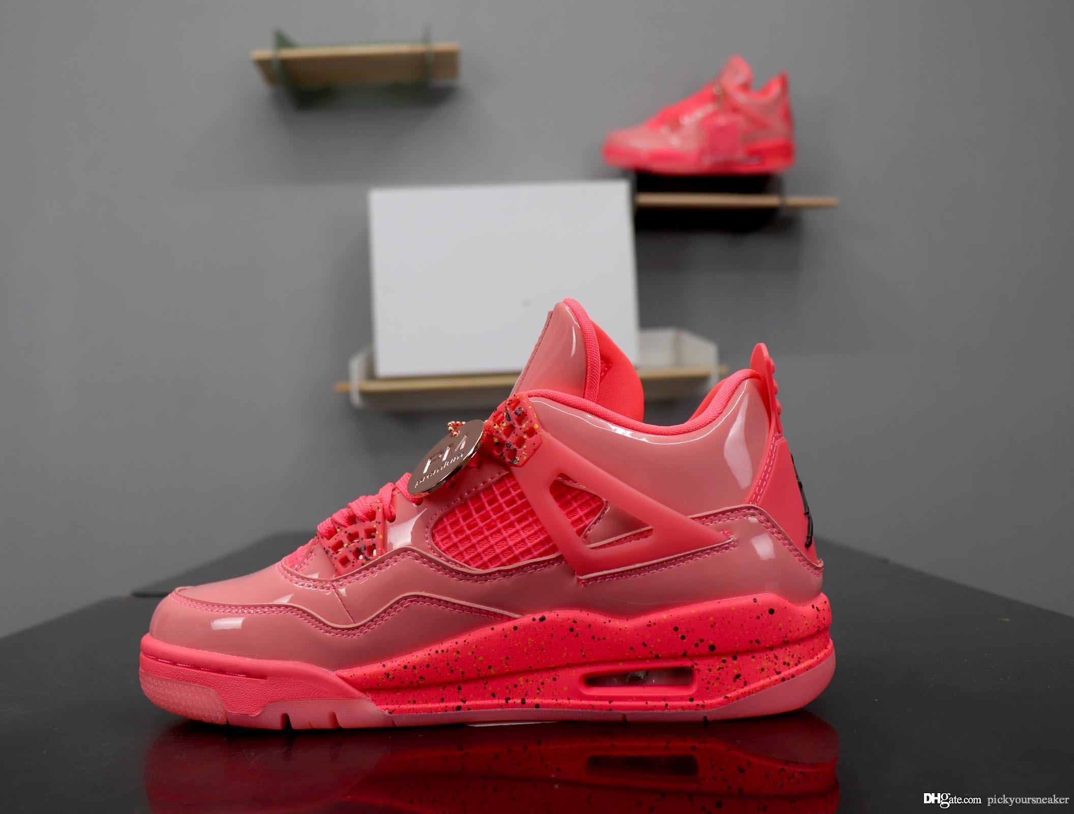 more photos aad95 3b075 2019 4s Hot Punch Mens Retro Basketball Shoes High Quality Hot Punch Red  Pink Jumpman 4 Athletic Trainer Sneaker Women Men Sports Designer Shoes  From ...