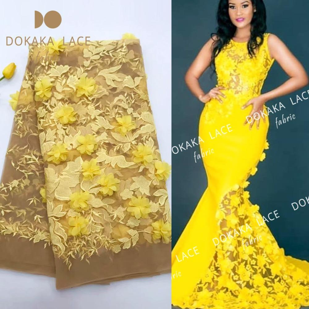 5yards/piece African Noble Design Net Lace Fabric With 3D Applique Guipure Style 3D Flower In Yellow Nigerian Indian Wedding Mesh Material