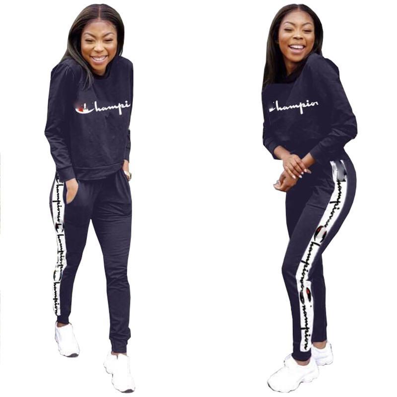 28c8a116bfbe Women Champions Letter Print Tracksuit Long Sleeve T Shirt Top + Loose  Pants Leggings 2PCS Set hoodie Outfits Sportswear Suit Sweatshirt DHL