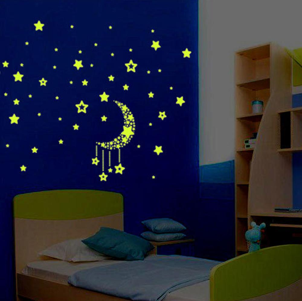 A Set Glow In The Dark Stars Moon Sticker Beautiful 3D DIY Home Decal Art Luminous Wall Stickers For Baby Kids Bedroom Decor