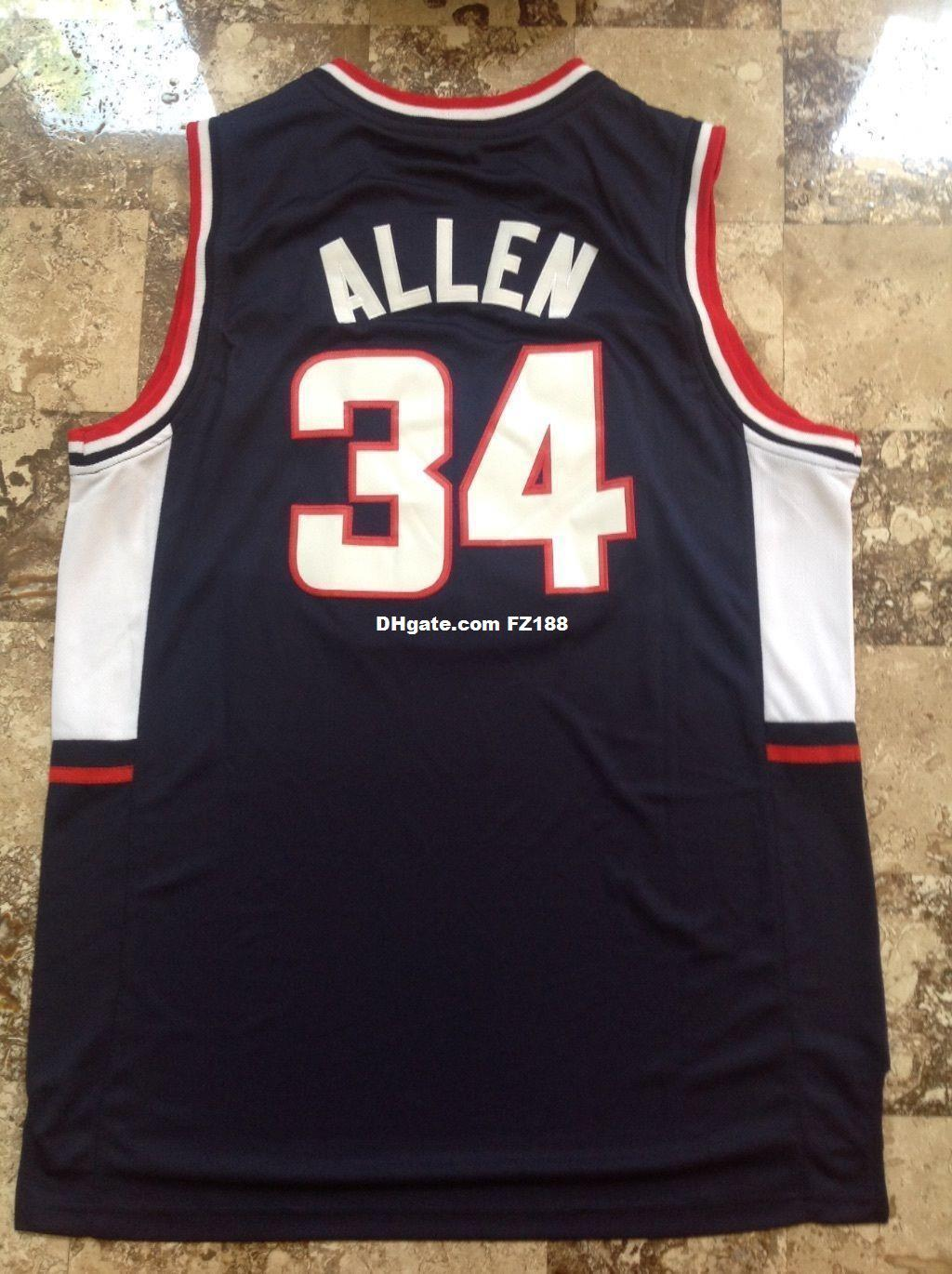 2019 Ray Allen  34 Connecticut NCAA Sewn Stitched Basketball Swingman Jersey  Black XS 6XL From Diyjerseys 272f55d4ef7c