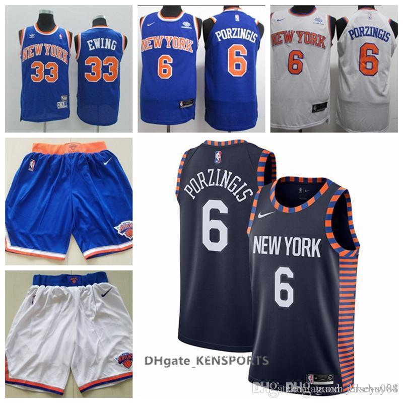 big sale b34c8 351d3 Newest 2019 New York Basketball Knicks Jersey 6 Kristaps Porzingis #33  Patrick Ewing Stitched Basketball Jerseys - White Black Blue