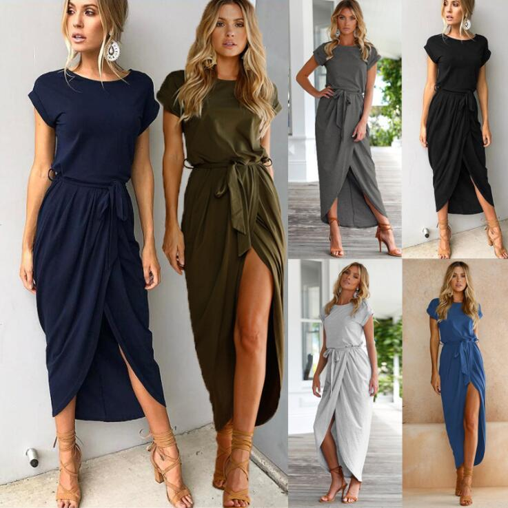 2019 Robe d'été sexy Lady Outfit High Split Casual Long Maxi Dress Robes rétro des femmes solides