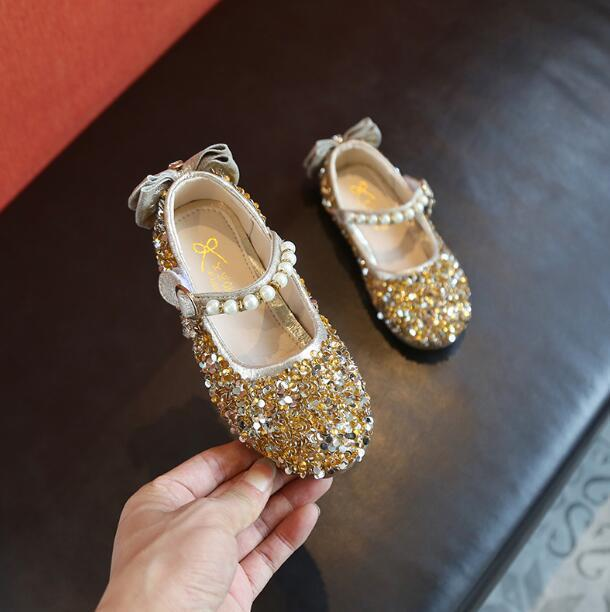 b09310208b kids Shoes Girl J19116 2019 New Princess Sequins Flats Wedding Children's  Sandals Pink Gold Sliver Toddler Baby Pearl Shoes
