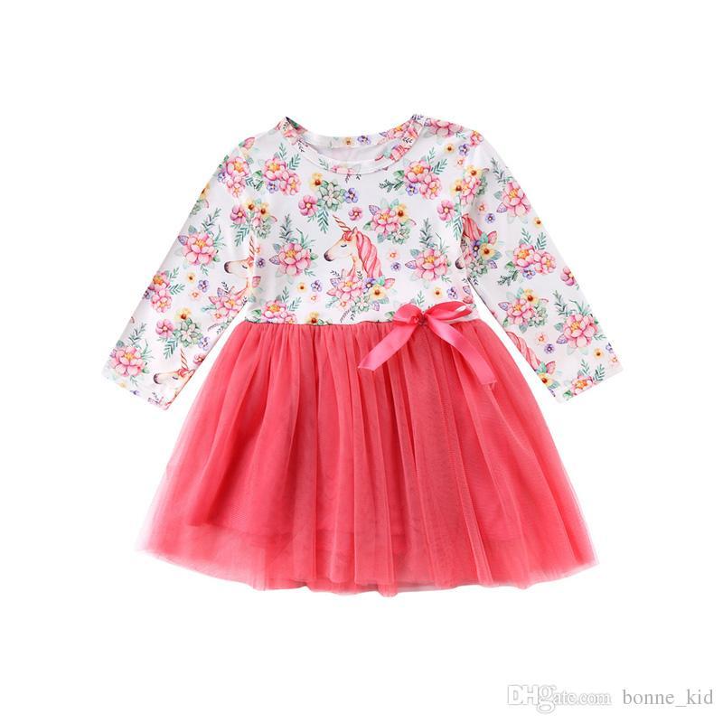 7b1cc66a850e 2019 Kids Girls Unicorn Pink Flower Tutu Dresses Long Sleeve Wedding Party  Flower Kid Girl Clothes Princess Dress Children Clothing From Bonne_kid, ...