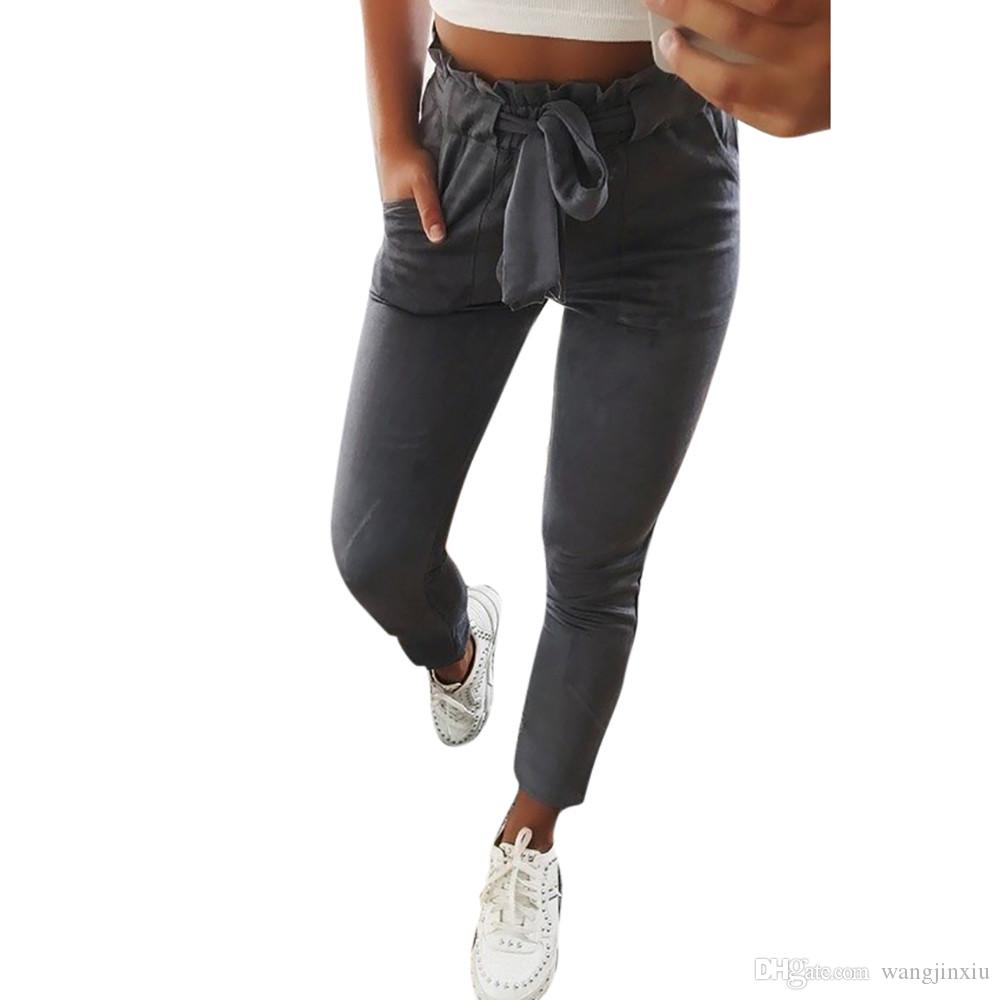 Compre Vendaje Rayas OL Gasa Cintura Alta Harem Pantalones Mujeres Bowtie  Pantalones De Cintura Elástica Stringyselvedge Femenino Pantalones Casuales  A ... dd7019f270e4