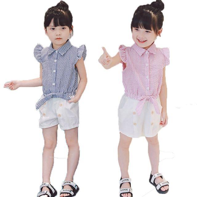 5dd5c8734892 Compre Conjuntos De Ropa Para Niñas Estilo De Moda De Verano Ropa Para  Niños Sin Mangas Camiseta A Rayas Pantalones Cortos Blancos 2 Piezas Trajes  A $10.95 ...