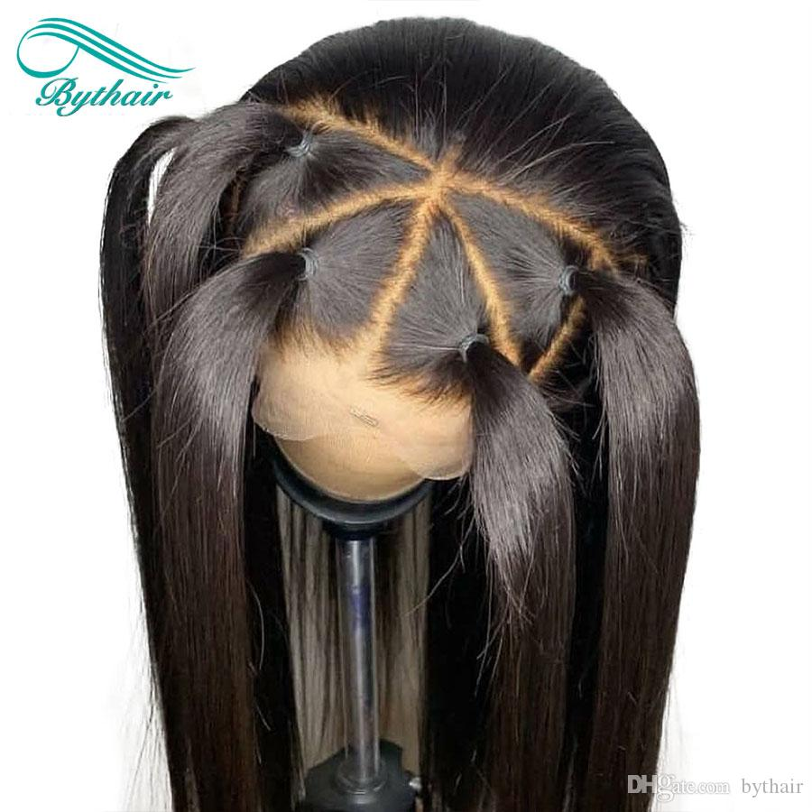 İpeksi Düz Dantel Ön İnsan Saç Peruk Brezilyalı Virgin Saç Tam Dantel Peruk ile Bebek Kıllar Bythair