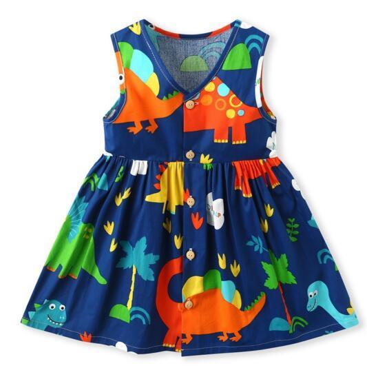 450c2821d2f24 Exquisite Girl Kids Designer Clothing New Summer V-neck Flower Print  sleeveless Design high quality cotton baby kids Princess dress