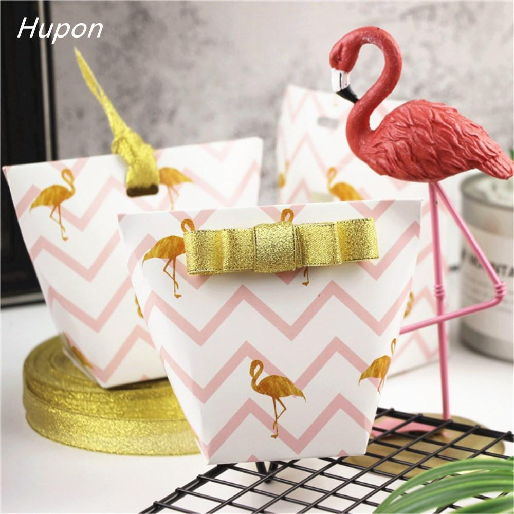10pcs Flamingo Unicorn Paper Gift Bags Candy Box Christening Babyshower Decor Hawaii Favor Box Wedding Birthday Party Supplies