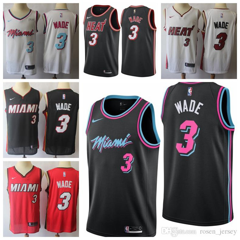 16a04af442f Cheap 2019 Mens Miami Heat 3 Dwyane Wade Basketball Jerseys New The City  Edition White Black Red Dwyane Wade Jerseys 100% Stitched Mesh Dense AU