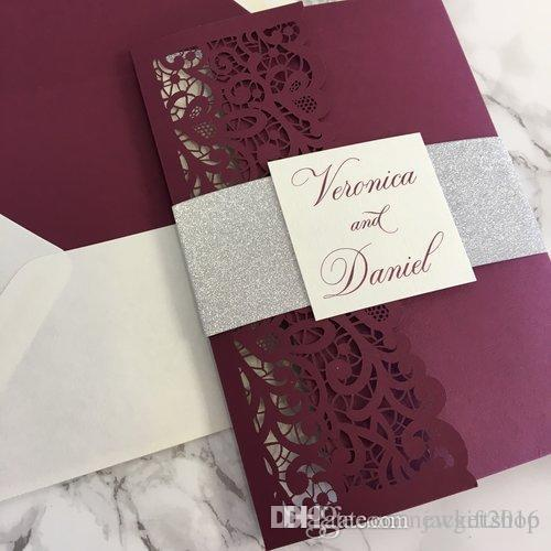 Vintage Burgundy Laser Cut Tri Fold Wedding Invitation Kits With Belly Band Tag Customizable Invites Envelope Free Shipping