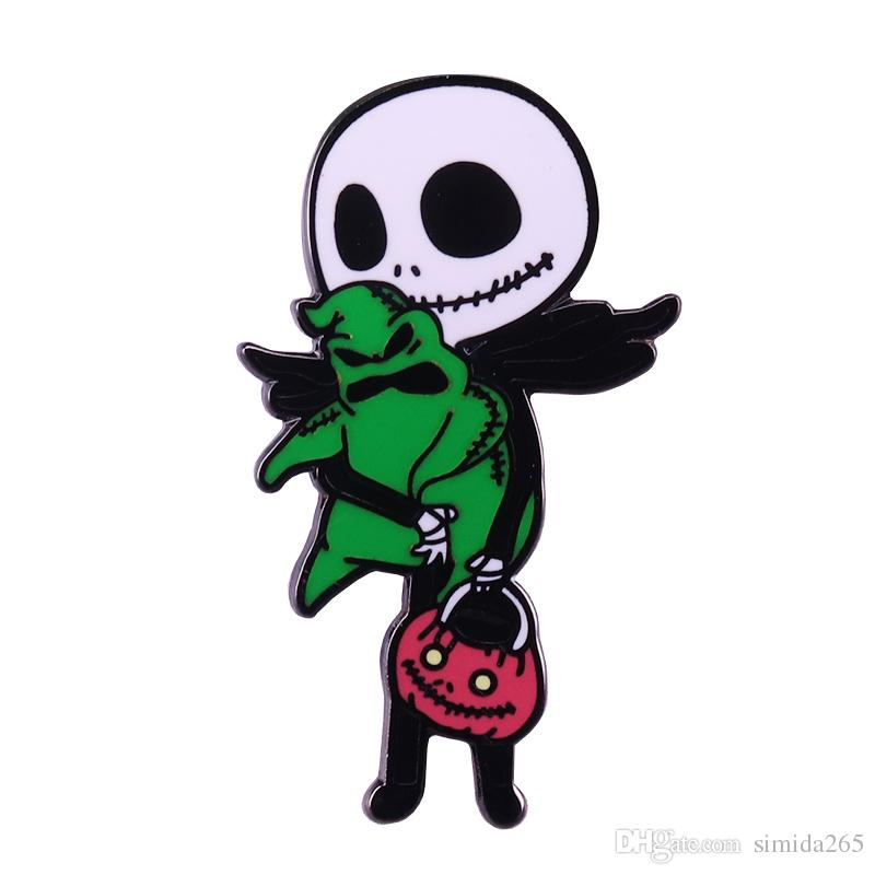 Nightmare before Christmas hard enamel pin Jack Skellington kidnap Oogie Boogie brooch Halloween gift