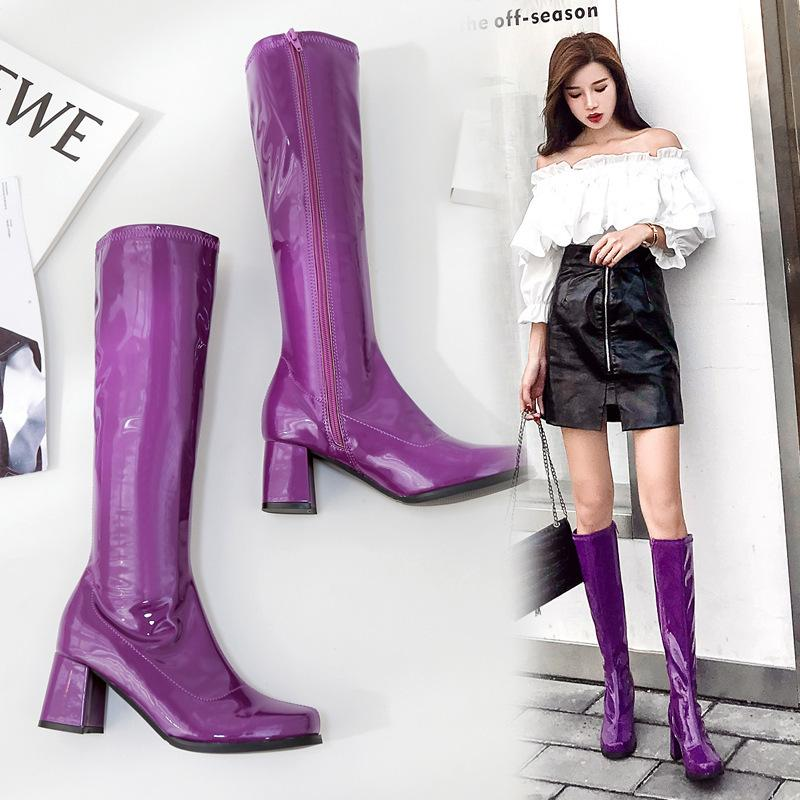 Sexy2019 Coarse Leather Nightclub Violet Long Woman Boots Tide Blue
