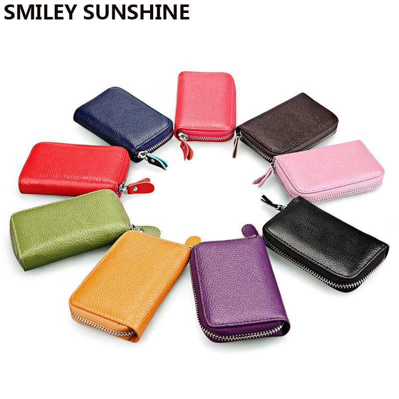 3095aab5a8fd SMILEY SUNSHINE Genuine Leather Card Holder Business Id Wallet Case Bag  Cardholder Men Women Wallet For Card Carte Designer Leather Wallets Radley  Card ...