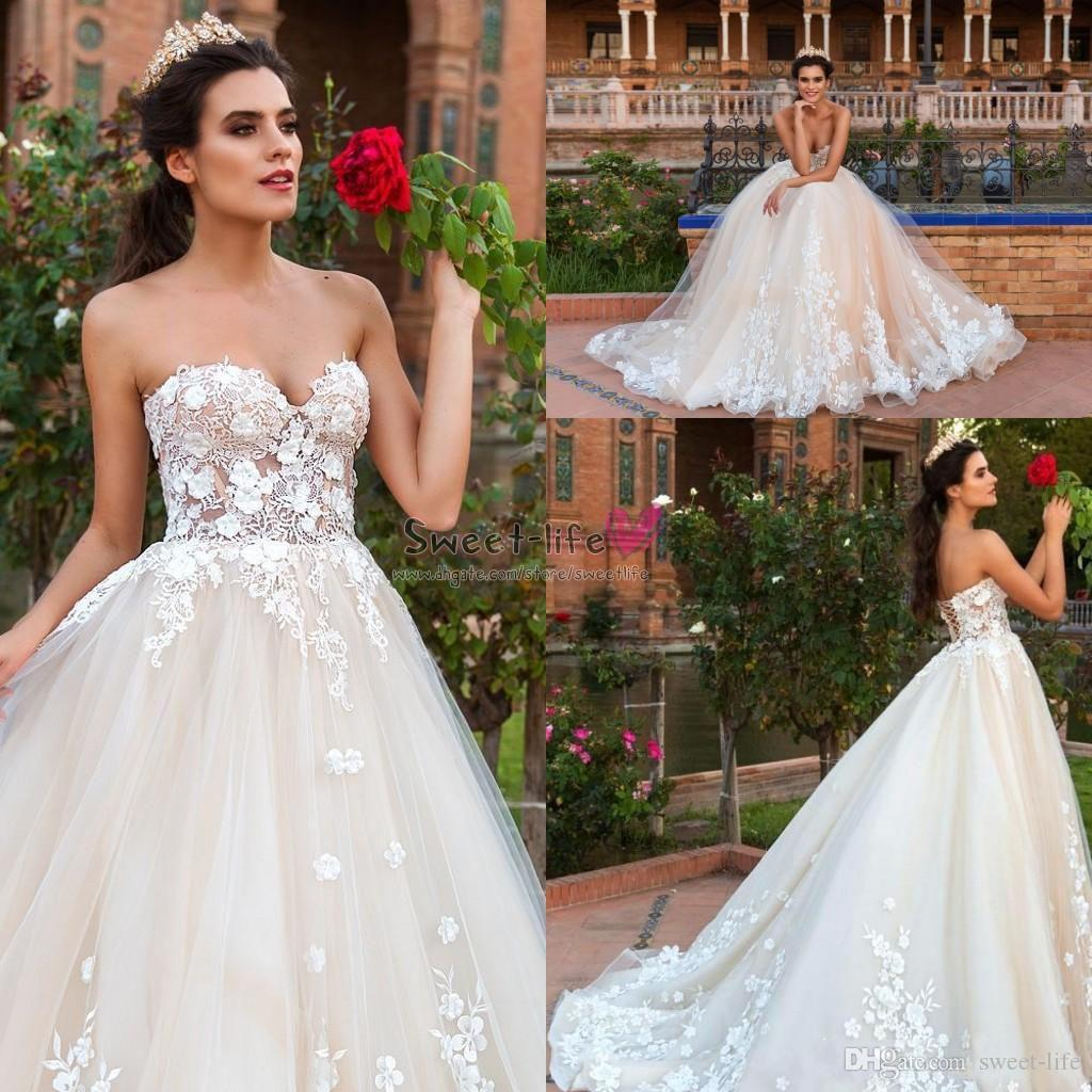 Discount 2019 Sexy Strapless Wedding Party Dresses Elegant Lace Appliques Bride Dress Corset Back Sweetheart Tulle A Line Long Bridal Ball Gown Classic: Sweet Ball Gown Wedding Dress Corset At Reisefeber.org