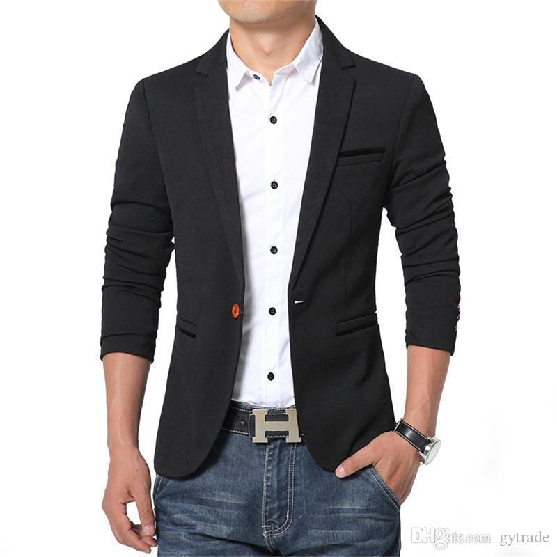 fd71a9b92a73b Nueva primavera otoño hombres delgada chaqueta informal de algodón delgado  Inglaterra traje Blaser masculino chaqueta de
