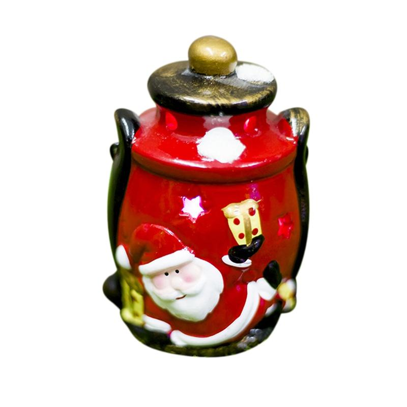 Christmas Painted Home Cute Lanterns Bar Hanging Tree Ornament with Light Ceramic Craft Snowman Santa Claus Party Décor