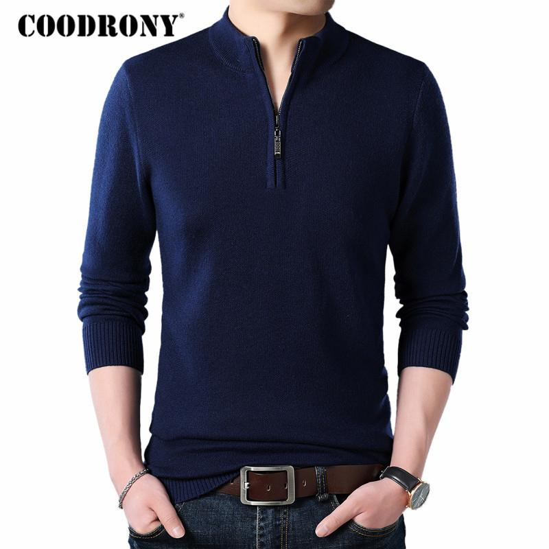 Coodrony Cashmere Sweater Men Clothes 2019 Autumn Winter Thick Warm Wool Pullover Men Casual Zipper Turtleneck Pull Homme 8142 SH190903