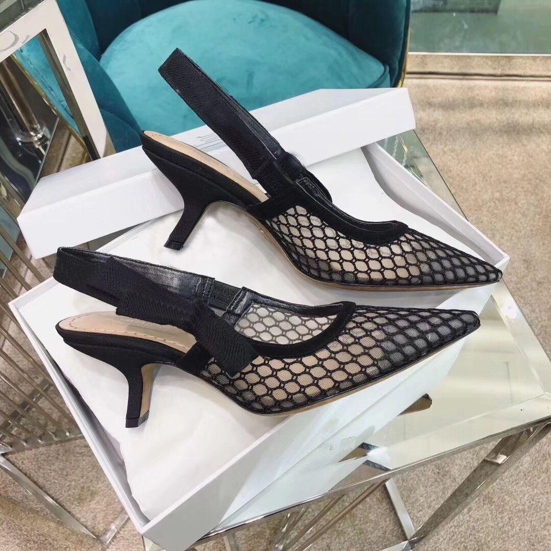 {Logo original} Mode talons hauts Spartiates en cuir sexy chaussures pointues Designer talon de luxe chaussures à talons hauts chaussures lettre femme 42
