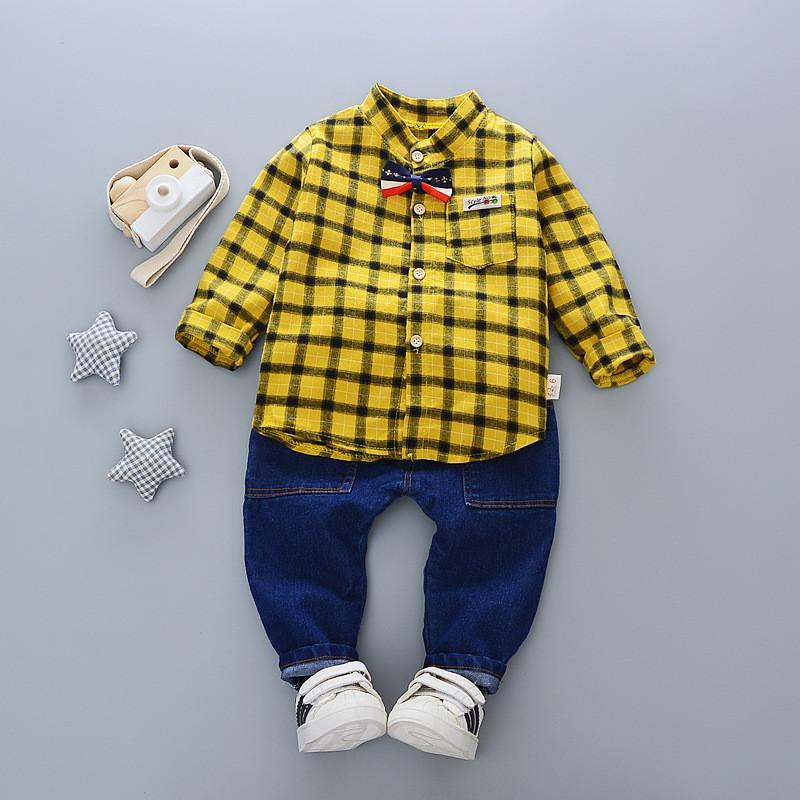 Compre Boa Qualidade Novos Conjuntos De Roupas Meninos Primavera Outono  Crianças Meninos Moda Cavalheiro Estilo Roupas Meninos Marca Uniforme  Xadrez Bebe ... fb7f22c8258