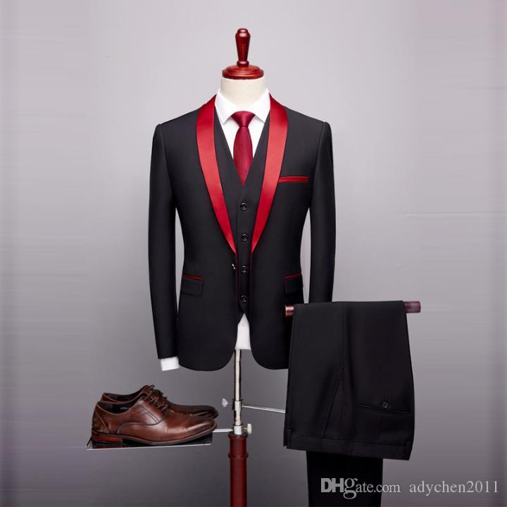 2019 Black Red Tuxedo Men's Suits Formal Grooms Suits Wedding Prom Blazer Mens 3 Piece Korean Business Suit Slim Fit