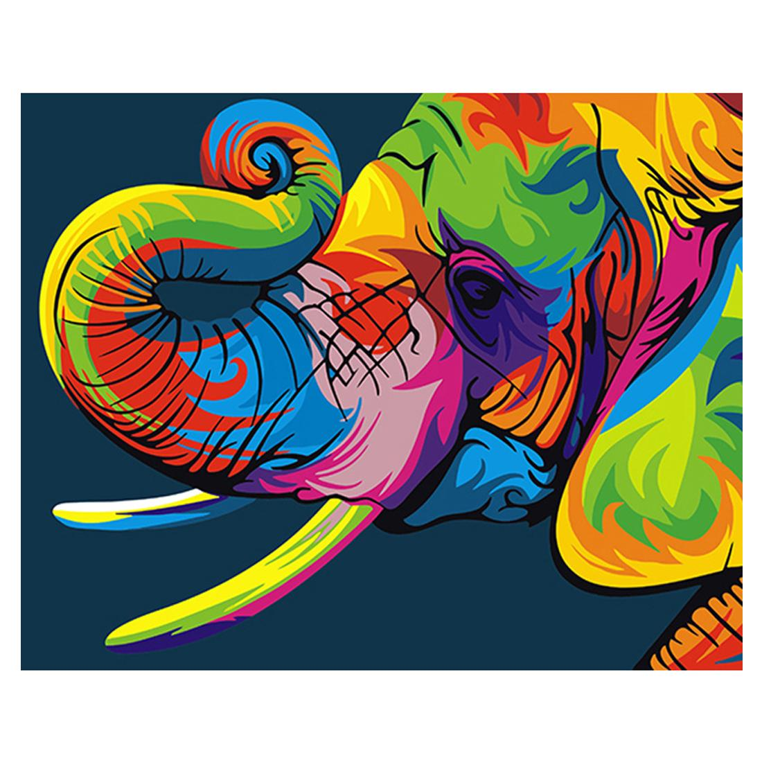 Diy Tiere Leinwand Gemälde Malen Nach Zahlen Mit Acrylfarben Pinsel Mit Oder Ohne Rahmen Für Erwachsene Anfänger Kinder Bunte Elefanten