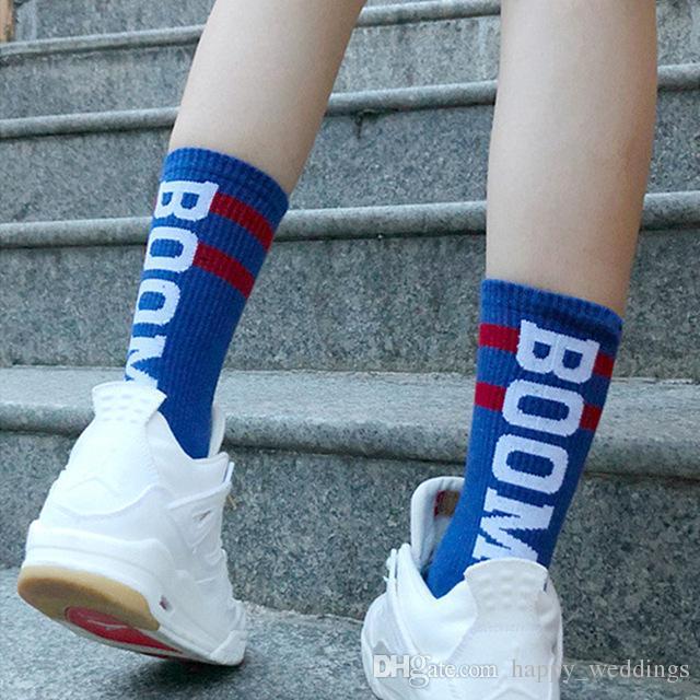53e41711e9157 Men Women Long Socks Kanye West Letter Boom Harajuku Fashion ...
