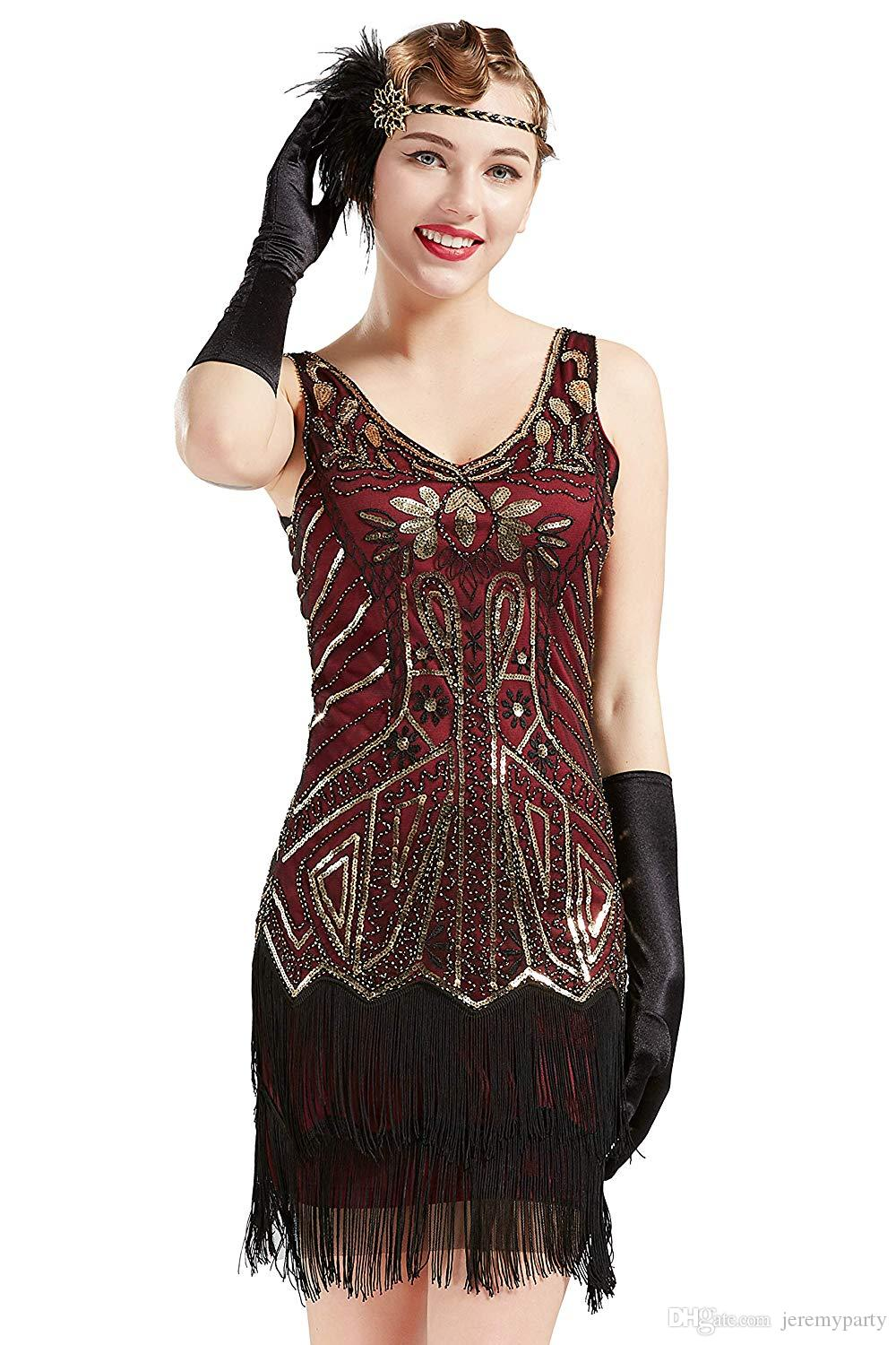 0ca655a46c1 QUALITY Women s Flapper Dresses 1920s V Neck Beaded Fringed Great Gatsby  Dress For Roaring 20s Party