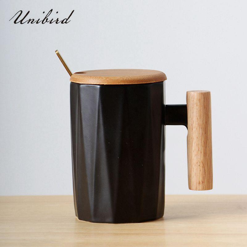 37e65848bdf Unibird Nordic Style Wooden Handle Ceramic Mugs Porcelain Coffee ...