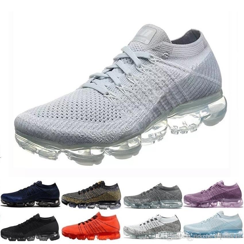 Nike vapormax 2019 vente en gros chaud 28 couleur hommes femmes 2.0 2 baskets tennis blanc blanc formateur Plyknit chaussures de sport chaussures de