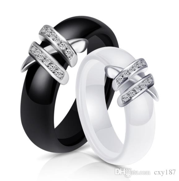 Wholesale White Black Ceramic Rings Zirconia For Women Gold Stainless Steel Black And White Double X Diamond Ring Wedding Gift