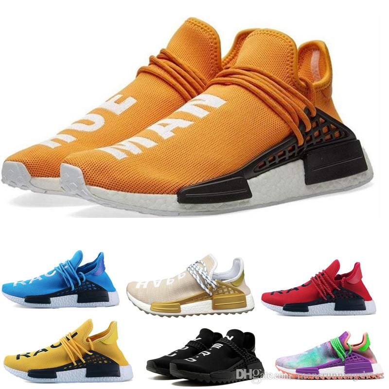 f6a1ef6e5 2019 Wholesale Human Race Men Sports Running Shoes Pharrell Williams X Discount  Cheap Athletic Mens Outdoor Training Sneaker Shoes Size 36 45 From ...