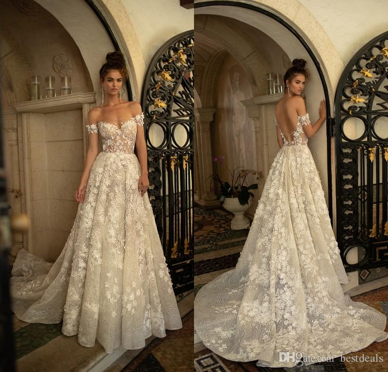 2813b693e88 Discount 2019 Gorgeous Berta Wedding Dresses Off The Shoulder Low Back Full  Lace Wedding Dress Custom Made Court Train Bridal Gowns Discount Bridal  Gowns ...
