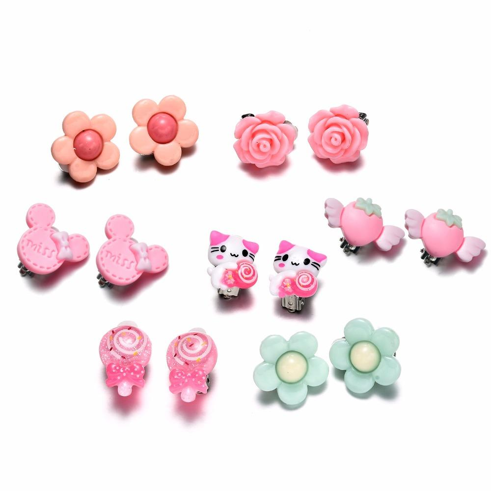 7 Pairs Kids Toddler Little Girls Clip On Earrings Value Set Birthday Party Gift Cute Animal Flower Princess Ear Jewelry