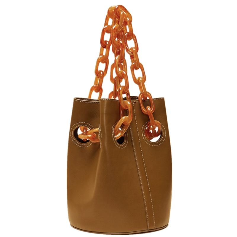 2f26cb1d18 Designer Woman Bags Acrylic Chain First Layer Cowhide Suede Bucket Bag  Fashion Evening Bag Clutch Female Shoulder Handbag