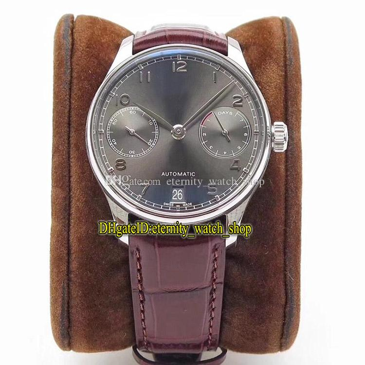 ZF Top version Portugieser IW500106 7 Days Power Reserve Gray Dial Cal.51011 Automatic Mechanical Mens Watch Sapphire Leather Strap Watches