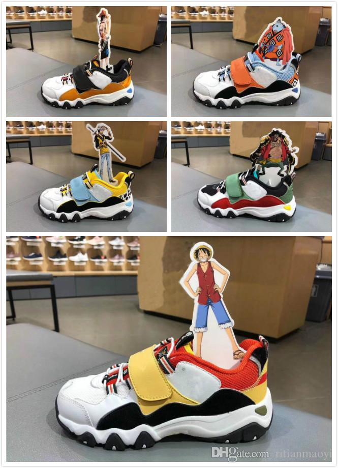 2019 new big kids Cartoon Running Shoes One Piece children luminous soft bottom sports Sneakers boys girls youth Athletic Trainers with box
