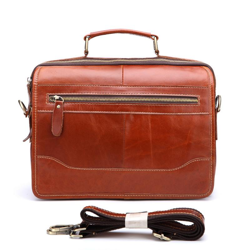 11a9ad48db7b Men Genuine Leather Briefcase Messenger Laptop Pack Business Bags For  Document Shoulder Handbags Computer Pocket Bolsa Masculina