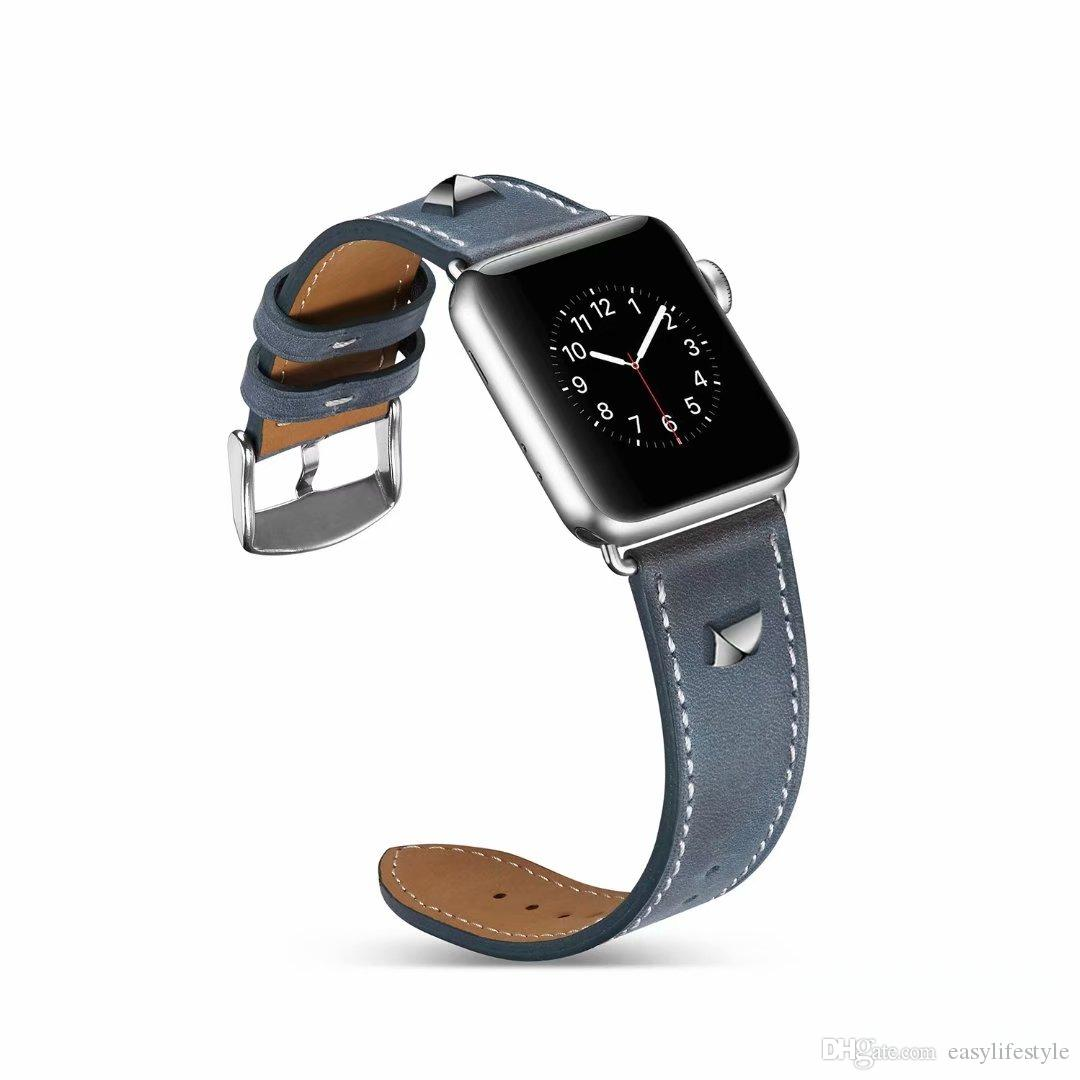 Blue Genuine Leather Crocodile Strap Band For Apple Watch 38mm 40mm 42mm 44mm The Latest Fashion Cell Phones & Accessories