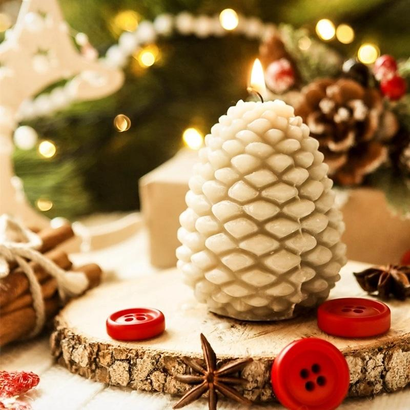 3D Christmas Pine Cone Silicone Candle Mold Aromatherapy Soap Mould For Candle Making Chocolate Cake Decoration Tools SH190920