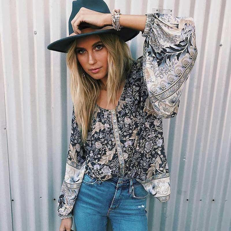 630397afe9d79 2019 Boho Inspired Blouse Keyhole Back Buttons Long Sleeve Top Spring  Summer 2019 Blouse Shirt Women Chic Floral Print Rayon Blusa From Dayup