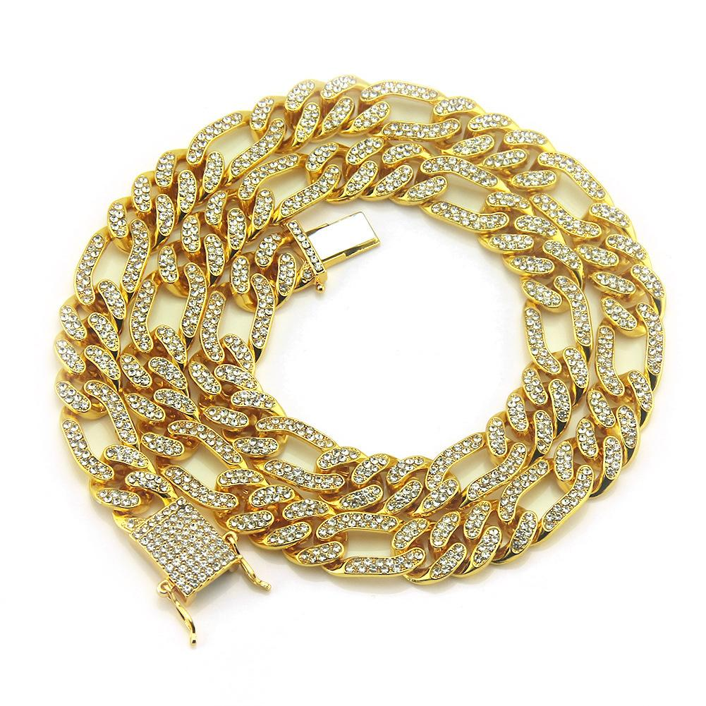 Mens Full Diamond Bling Cuban Figaro Link Chain Necklace Iced Out Designer Luxury Hip Hop Choker Chains Miami Rapper Jewelry Gifts for Men