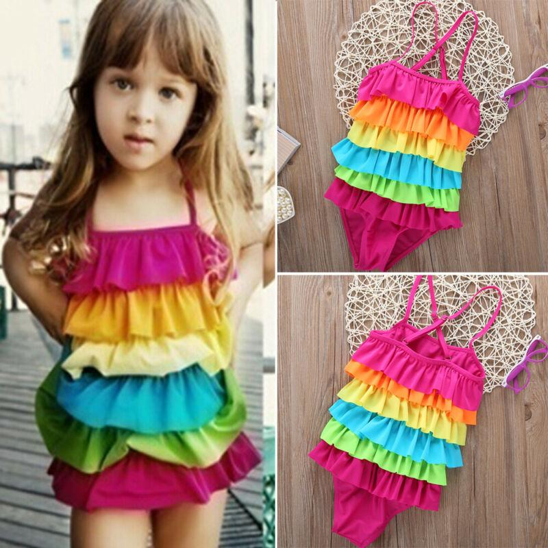 Casual Toddler Kids Girls Rainbow Swimwear 2020 New Spaghetti Strap Layered Swimdress Swimsuit Children Swimming Clothing 2-9Y