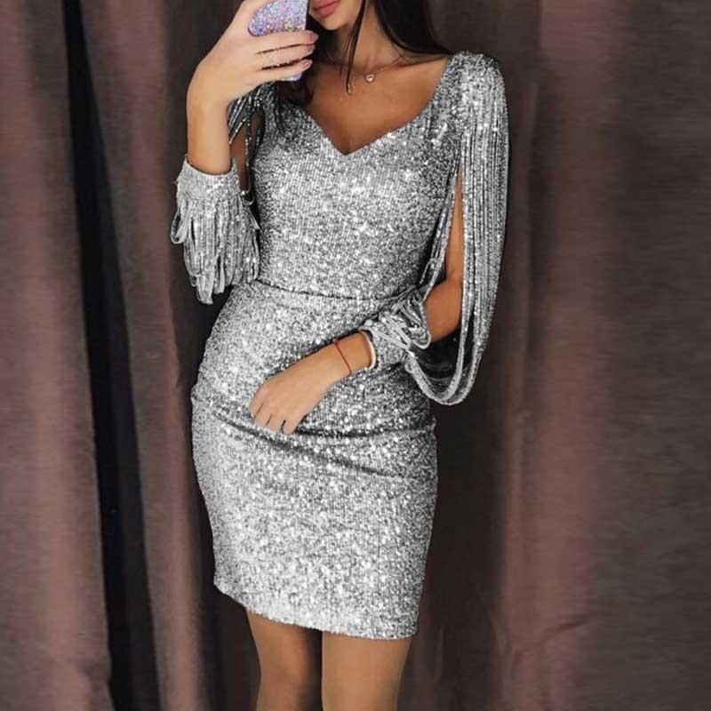9b97fc1824 Zan.style Women Sexy Tassels Sleeve Sequin Party Dress Ladies Sparkly Night  Club Bodycon Dress Spring V-neck Mini Dress Vestidos C19030801