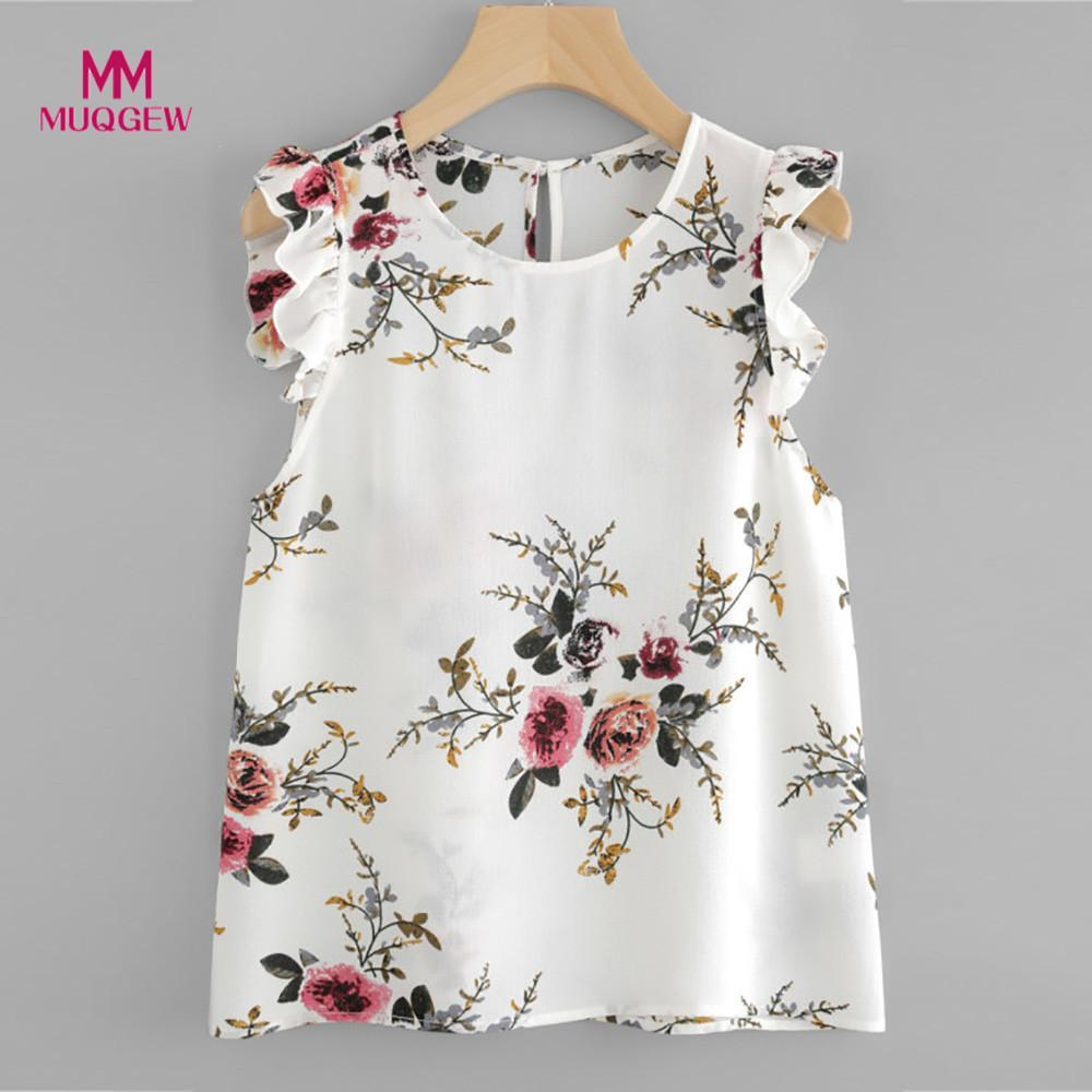 Woman Floral Print Butterfly Sleeve Blouse Crop Tops Chiffon Sleeveless O-Neck Multicolor color blouse femmes tops et blouses