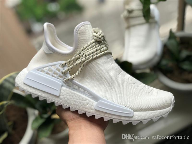 new styles 6b574 b72cb Pharrell Williams x Originals NMD Hu BC Cream AC7031 White Human Race PW  Mens Running Shoes OutDoor Sneakers Authentic Quality With Box