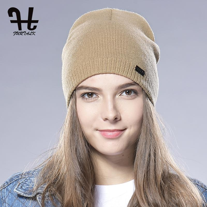 Furtalk Unisex Spring Autumn Casual Watch Cap Woman Wool Knit Beanie Cap Braided Hat Skull Winter Hats For Wome Skullies Beaniesn